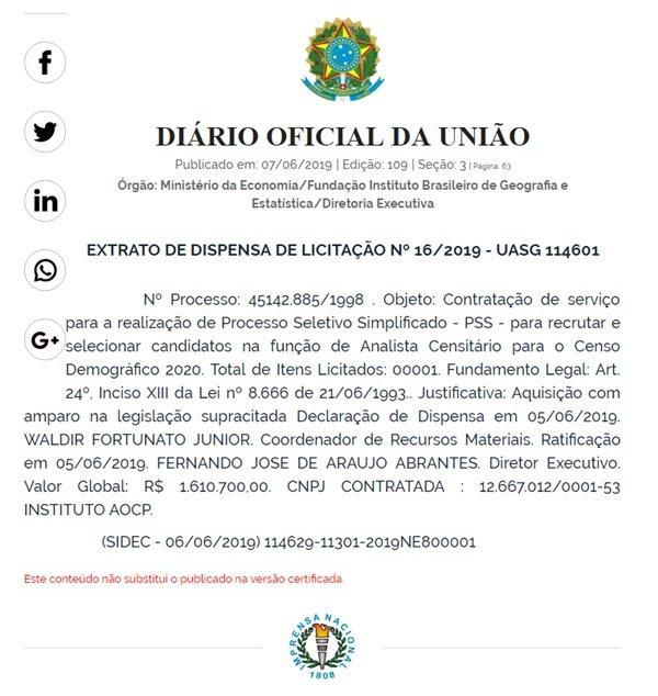 Diário Oficial da União/Reprodução