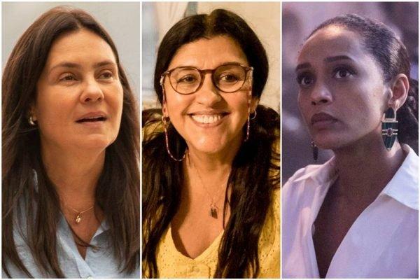 Montagem com as três protagonistas da trama Lurdes (Regina Casé), Thelma (Adriana Esteves) e Vitória (Taís Araújo)