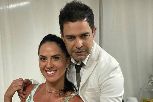 Graciele Lacerda e Zezé Di Camargo abraçados
