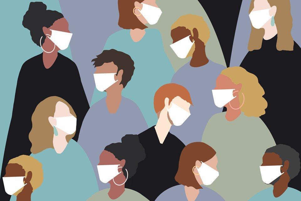 ilustração de pessoas com máscara no rosto, coronavírus