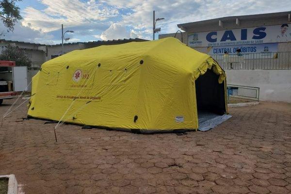 Tenda de combate à dengue instalada em Valparaíso (GO)