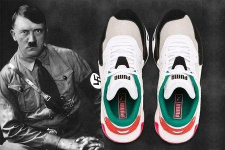 Montagem com o ditador alemão Hitler e um tênis da Puma