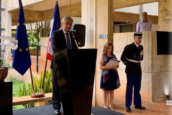 Solenidade na Embaixada da França em Brasília, em 11 de março de 2020, Dia Nacional de Homenagem às Vítimas do Terrorismo