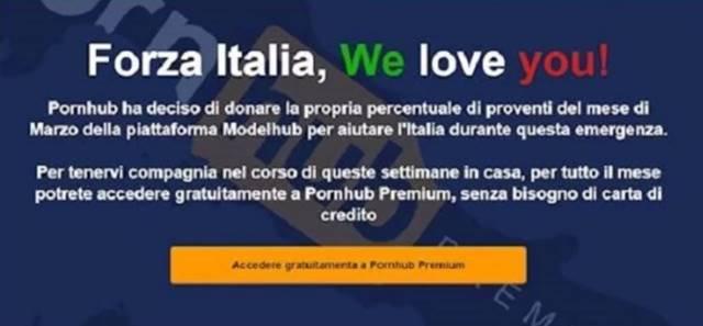 Anúcio Pornhub em italiano