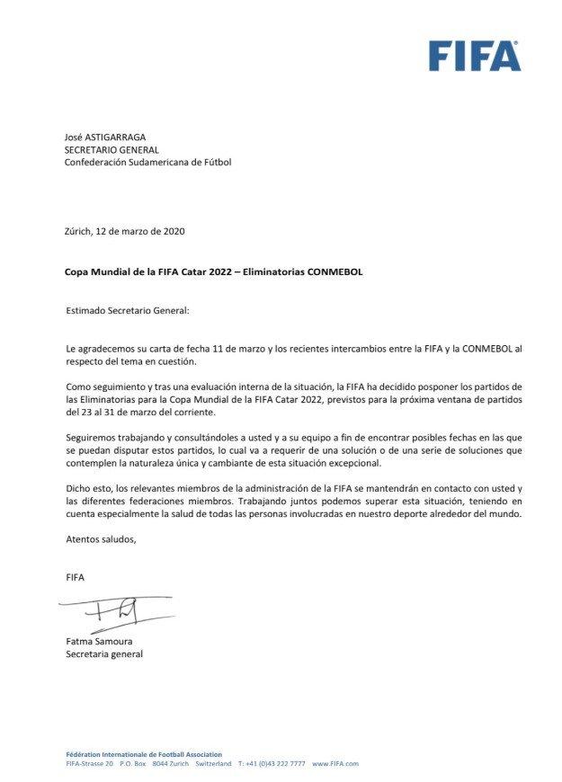Comunicado da Fifa de adiamento das Eliminatórias da Copa 2022