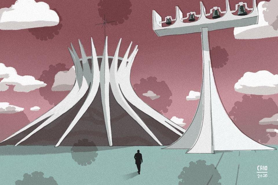 Ilustração para coluna da Conceição Freitas: homem em frente à Catedral de Brasília