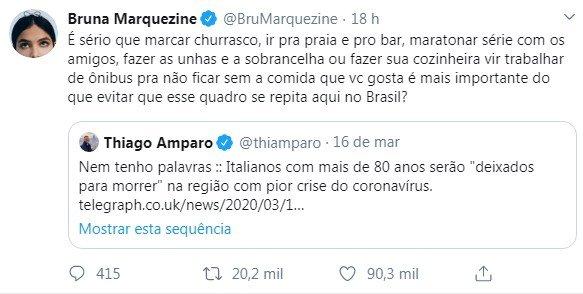 Post de Bruna Marquezine no Twitter