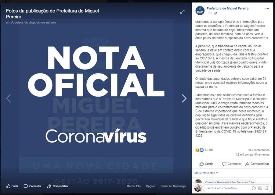 Prefeitura de Miguel Pereira faz anúncio no Facebook
