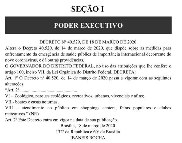 Decreto de Ibaneis Rocha que suspende atividades em parques, shoppings, boates e feiras