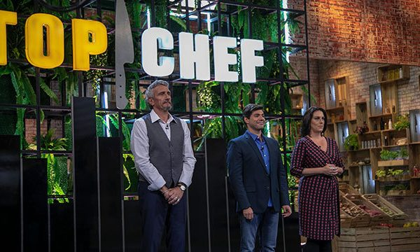 Jurados do Top Chef Brasil durante as gravações do programa da Record TV