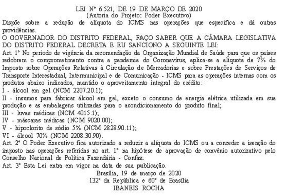Publicação no DODF da Lei que reduz o ICMS de álcool, luvas e máscaras