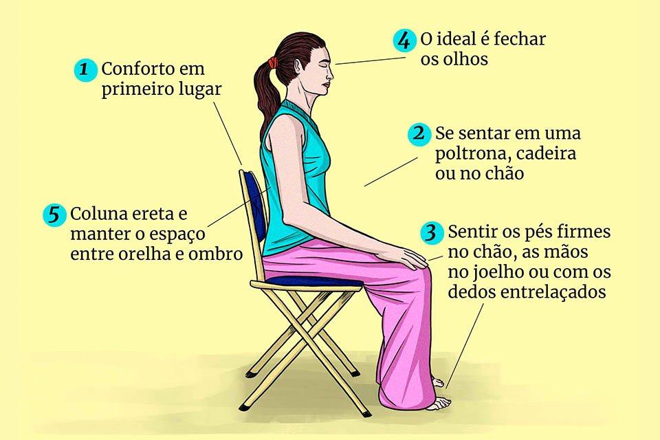 Mulher sentada em uma cadeira para meditar