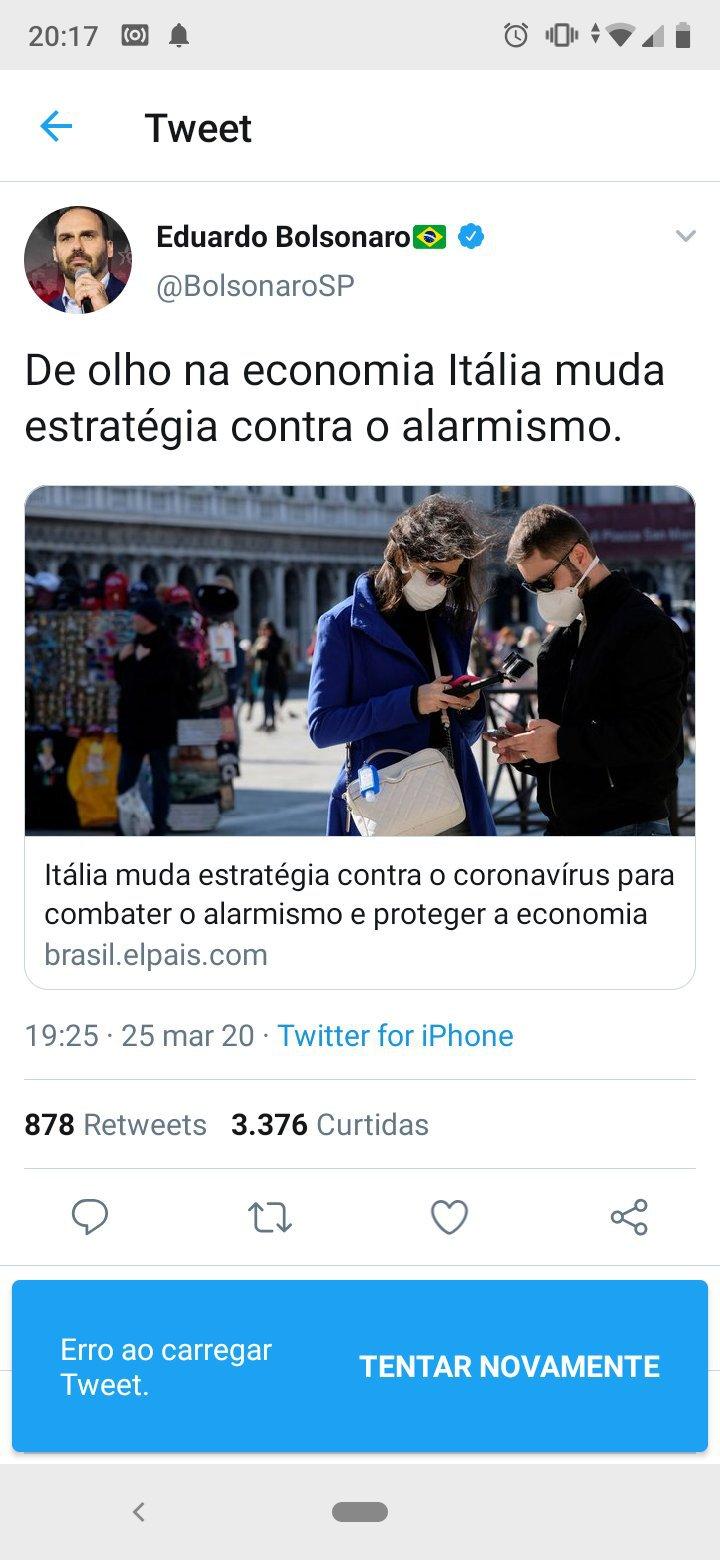 Postagem apagada por Eduardo Bolsonaro
