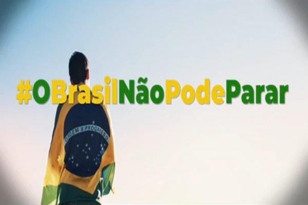 frame da campanha O Brasil não pode parar