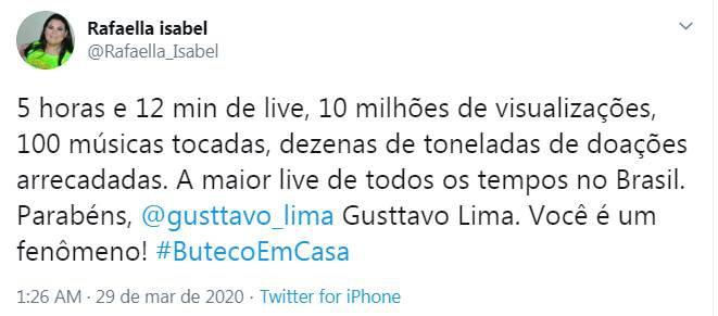 Web repercute live de Gusttavo Lima