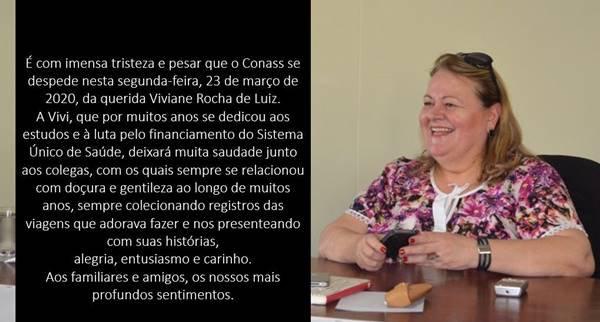 Nota do Conass sobre Viviane Rocha de Luiz, primeira vítima de coronavírus no DF
