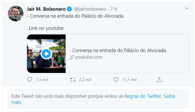 Aviso do Twitter na conta do presidente Jair Bolsonaro