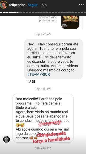 Conversa entre Prior e Neymar