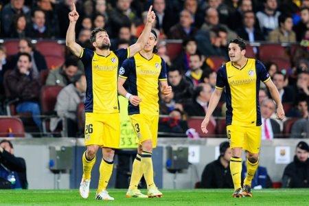Diego comemora gol pelo Atlético de Madrid