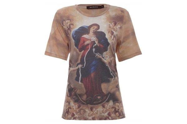 blusa com imagem de Nossa Senhora Desatadora dos Nós