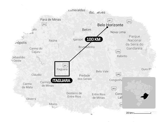 Mapa de Minas Gerais Itaguara