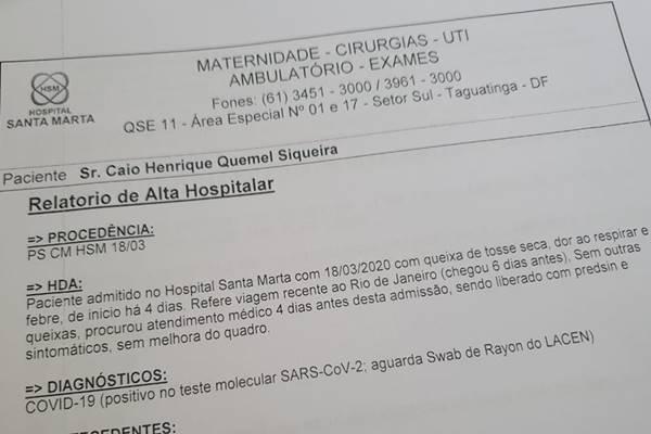 Exame positivo do coronavírus do professor de educação física Caio Quemel
