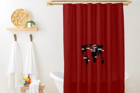 Cortina de boz de banheiro tema la casa de papel