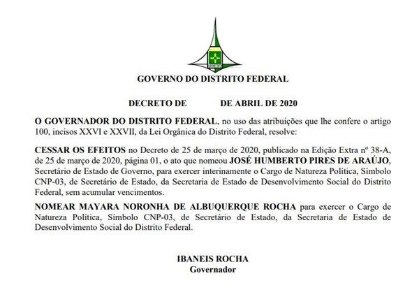 Decreto do governador Ibaneis Rocha