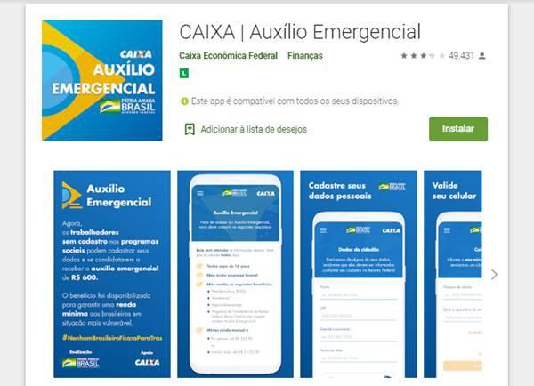 Visual do aplicativo oficial do Auxílio Emergencial do governo federal
