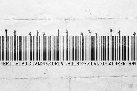 Arte sobre código de barras de boletos em tempos de coronavírus