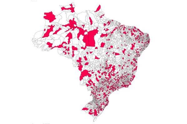 mapa dos municipios infectados com coronavírus covid-19
