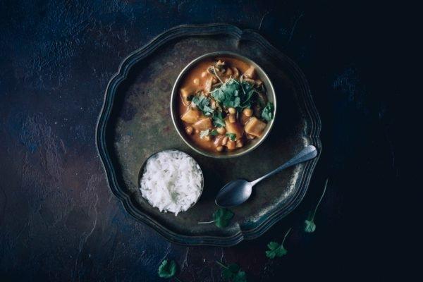 Curry vegano, grão de bico