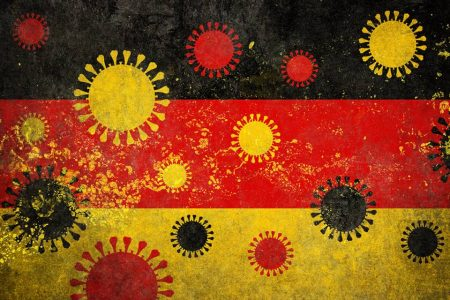 bandeira da alemanha com ilustrações do coronavírus