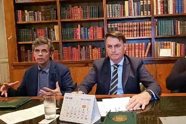 Novo ministro da Saúde, Nelson Teich, e presidente Jair Bolsonaro em live no Facebook