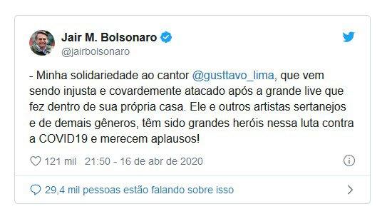 Print Bolsonaro apoiando Gusttavo Lima