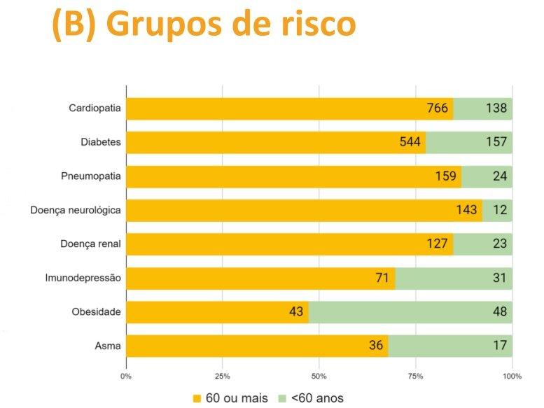 Gráfico com número de óbitos por grupo de risco