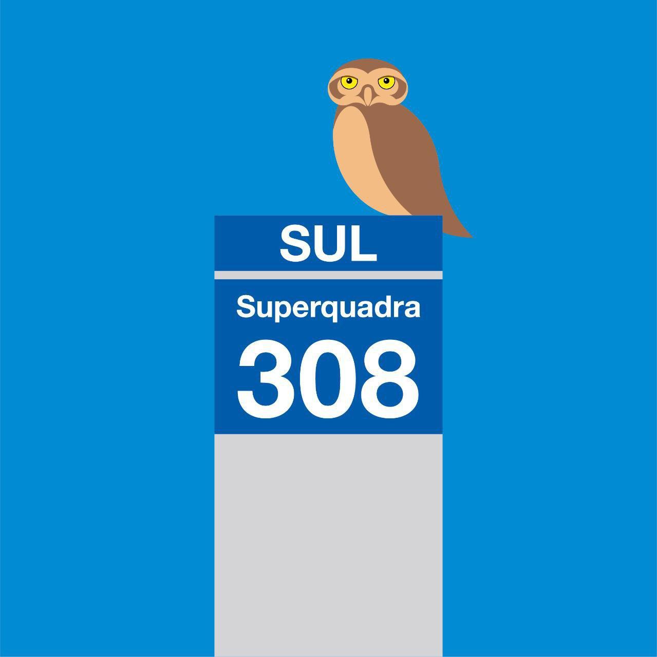 Ilustração da Placa da Superquadra 308 Sul