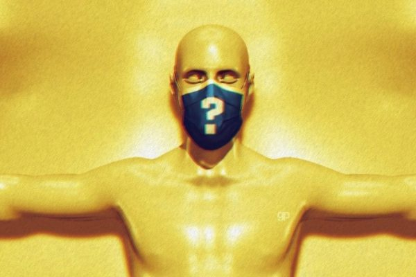 homem com máscara amarela com uma interrogação na boca