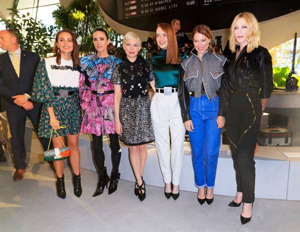 invited to the show to Cruise in 2020 for the Louis Vuitton cup mens tambour: Alicia Vikander, Jennifer Connelly, Michelle Williams, Emma Stone, Léa Seydoux, and Cate Blanchett