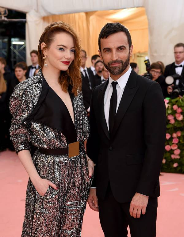 Emma Stone and Nicolas Ghesquière at the Met Gala, 2019