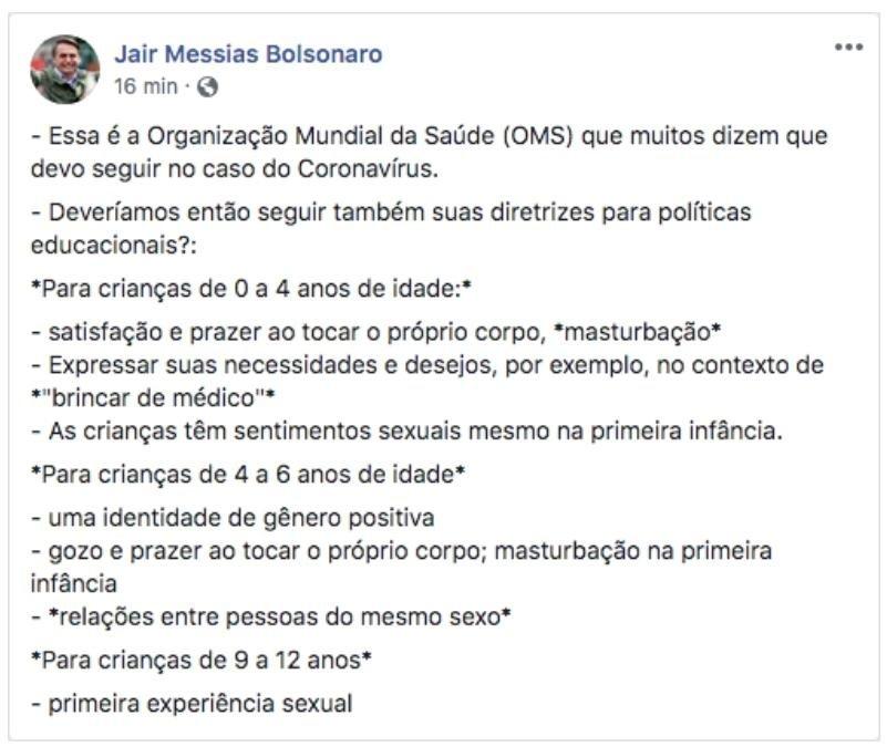 Bolsonaro diz que OMS incentiva masturbação para crianças