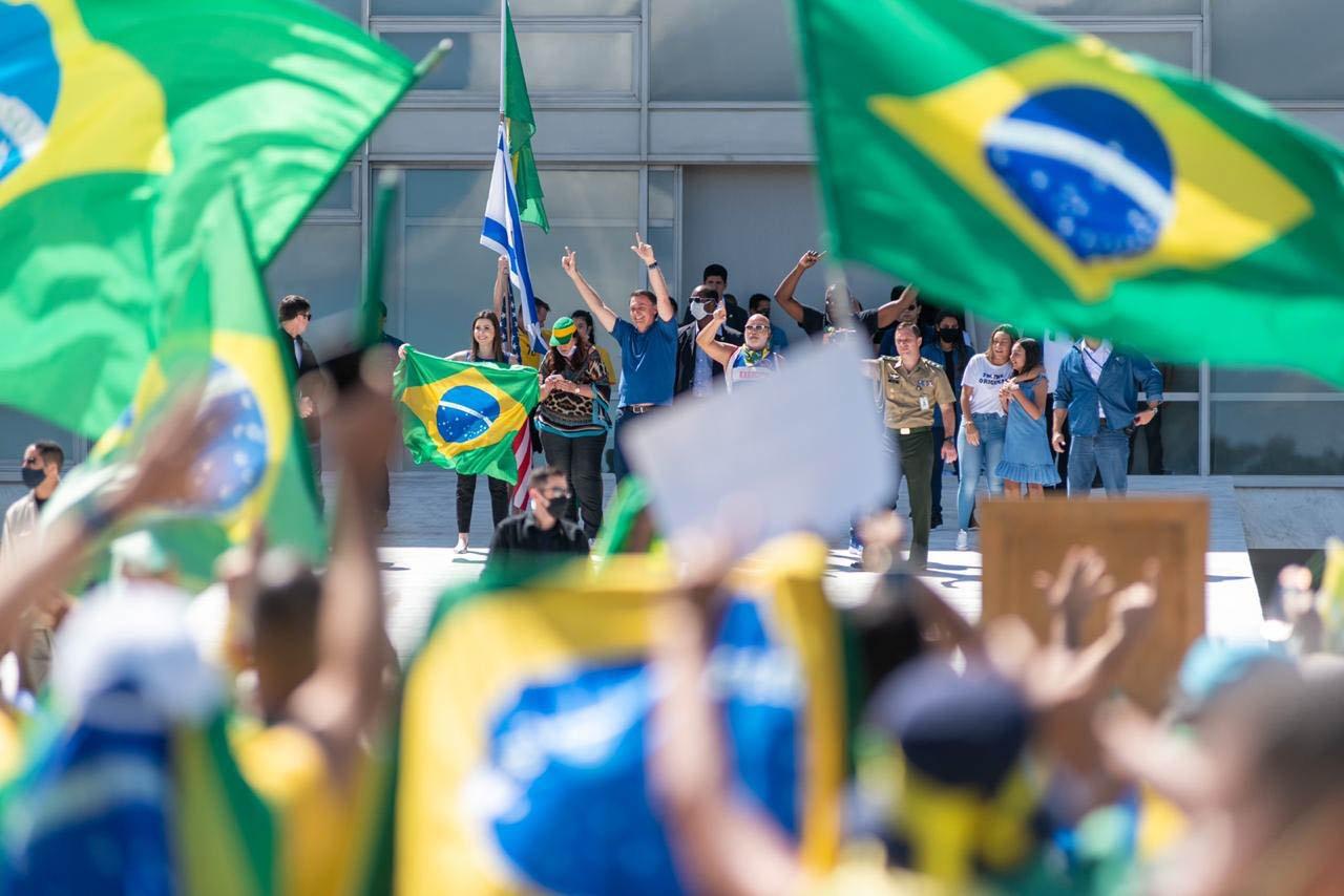 Bolsonaro durante protesto em brasilia