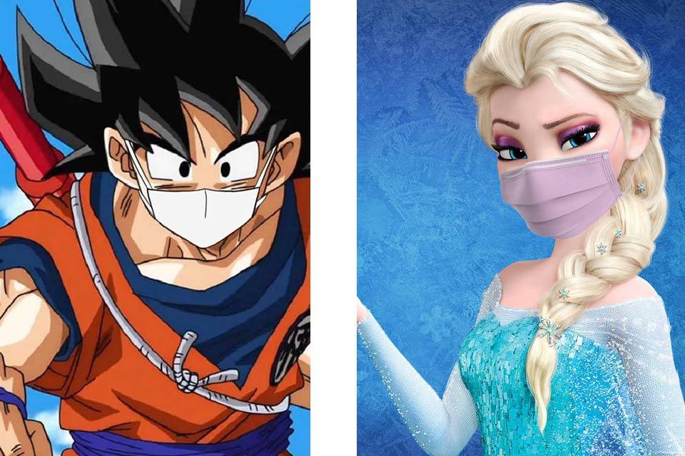 Goku e Elza de máscara