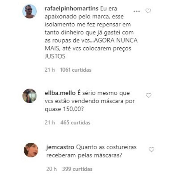 prints do Instagram com críticas à Osklen