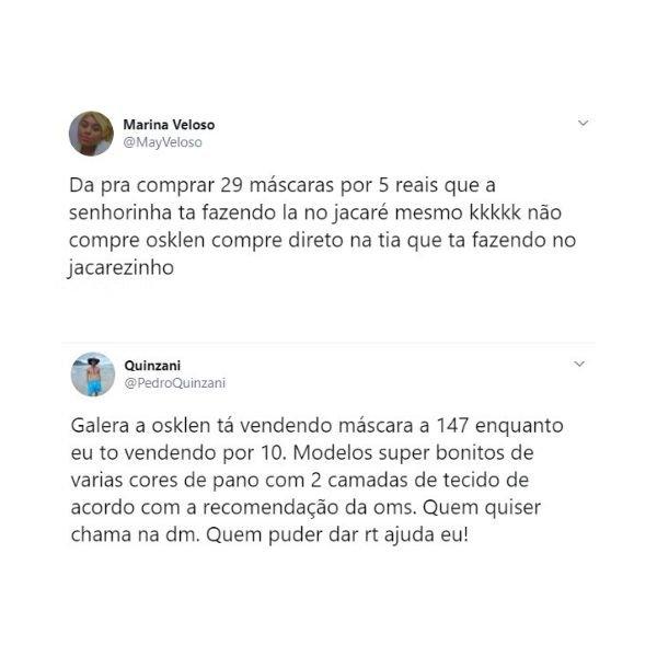 prints do Twitter com críticas à Osklen