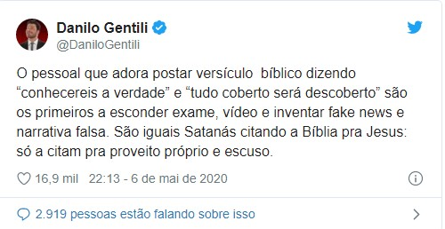 Tweet de Danilo Gentili sobre Bolsonaro