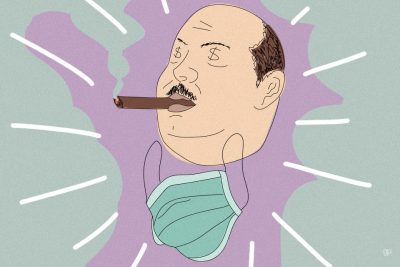 Ilustração de um homem com charuto na boca e uma máscara embaixo do queixo