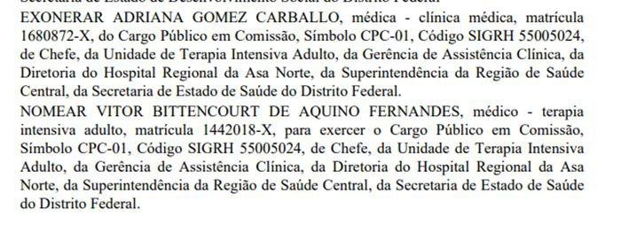 Mudança na chefia de UTI do Hospital Regional da Asa Norte