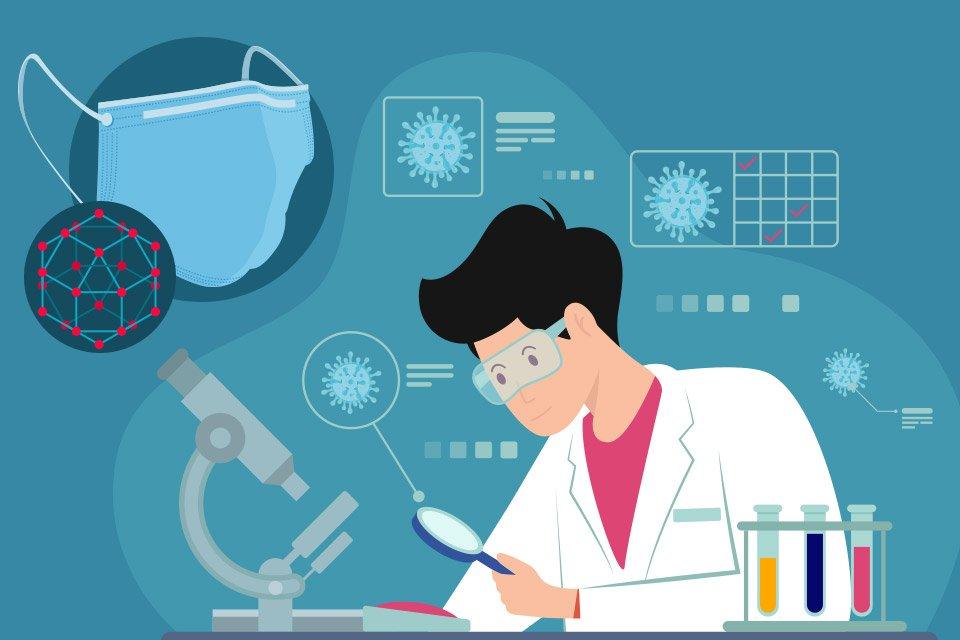 Ilustração sobre pesquisas científicas