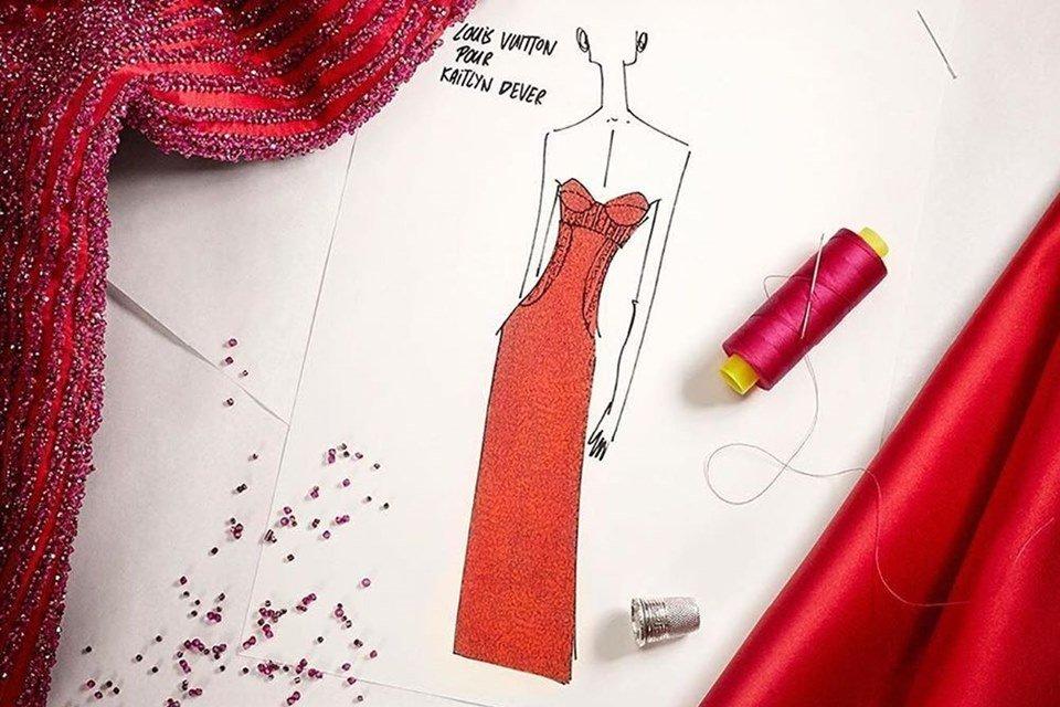 Vestido Louis Vuitton apoiado pela Red Carpet Green Dress usado no Oscar 2020